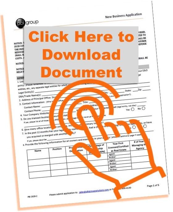 PBI Group Application for Real Estate E&O Insurance