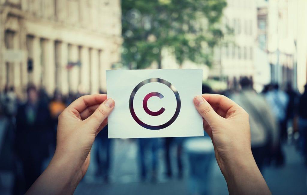 Copyright symbol on piece of paper