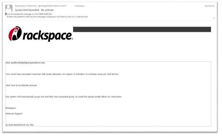 Rackspace Phishing Email v2