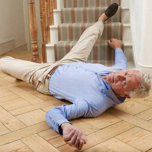 man falling at property